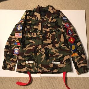 Off White style camo jacket with embroidery